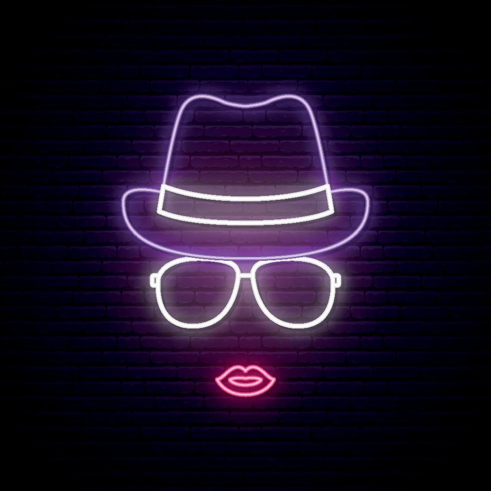 meisje in hoed en zonnebril neon silhouet. vector
