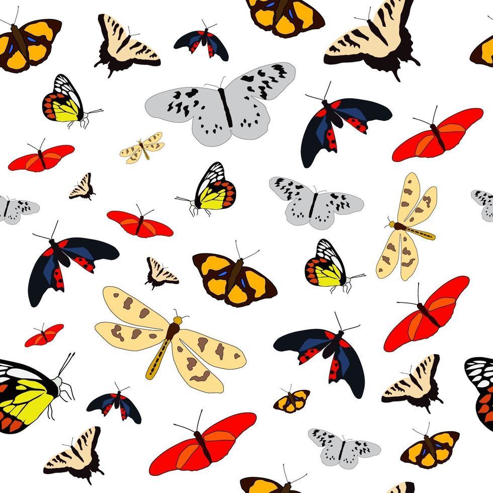 vlinder naadloos patroon, perfect voor achtergrond of kinderkamerbehang vector