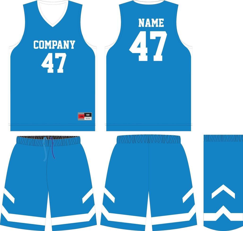 basketbalshirt en korte broek voor en achter vector