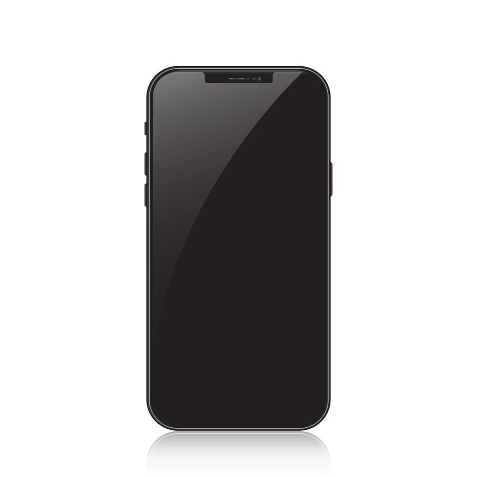 nieuwe versie van zwarte slanke smartphone. realistische vectorillustratie. vector