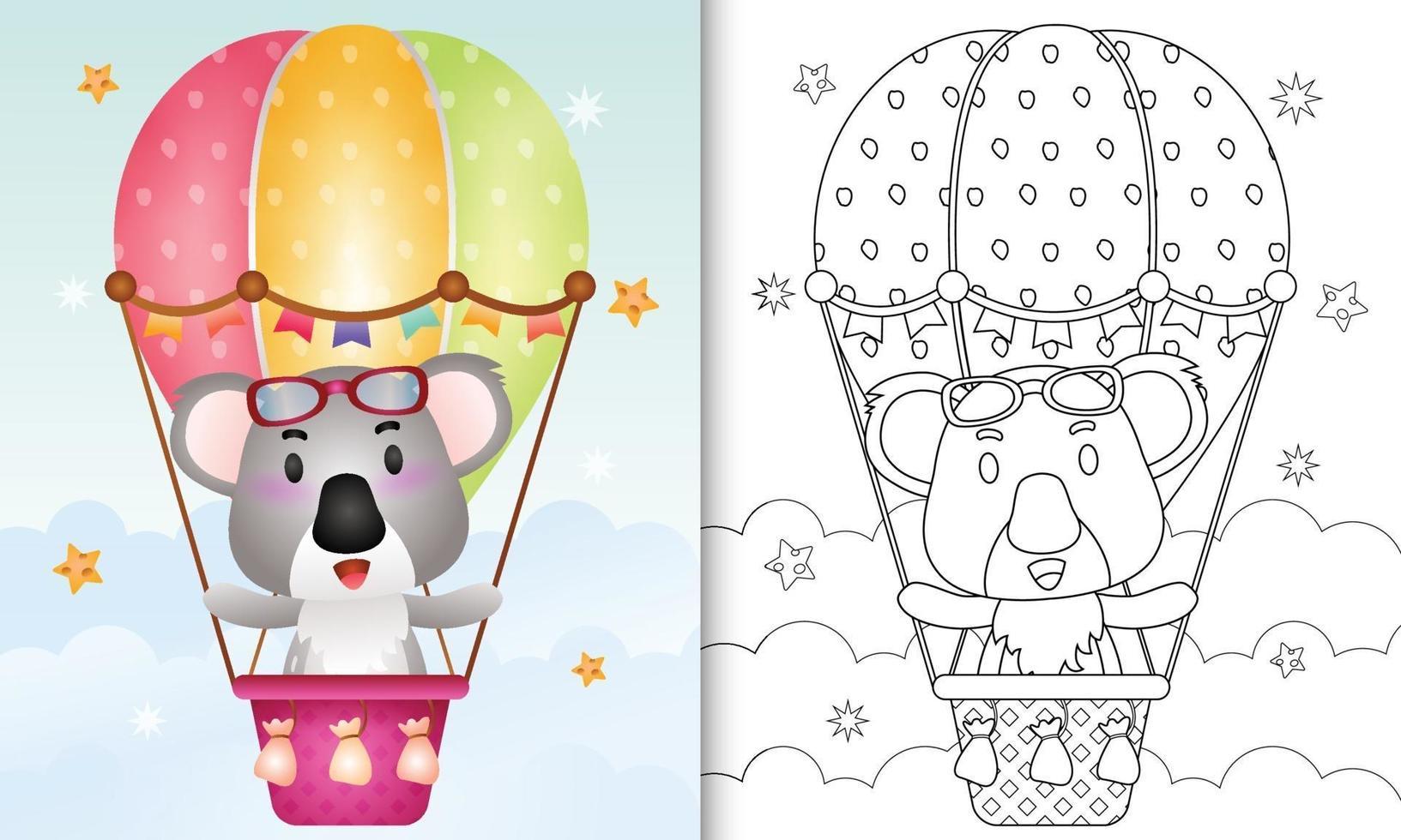 kleurboek voor kinderen met een schattige koala op heteluchtballon vector