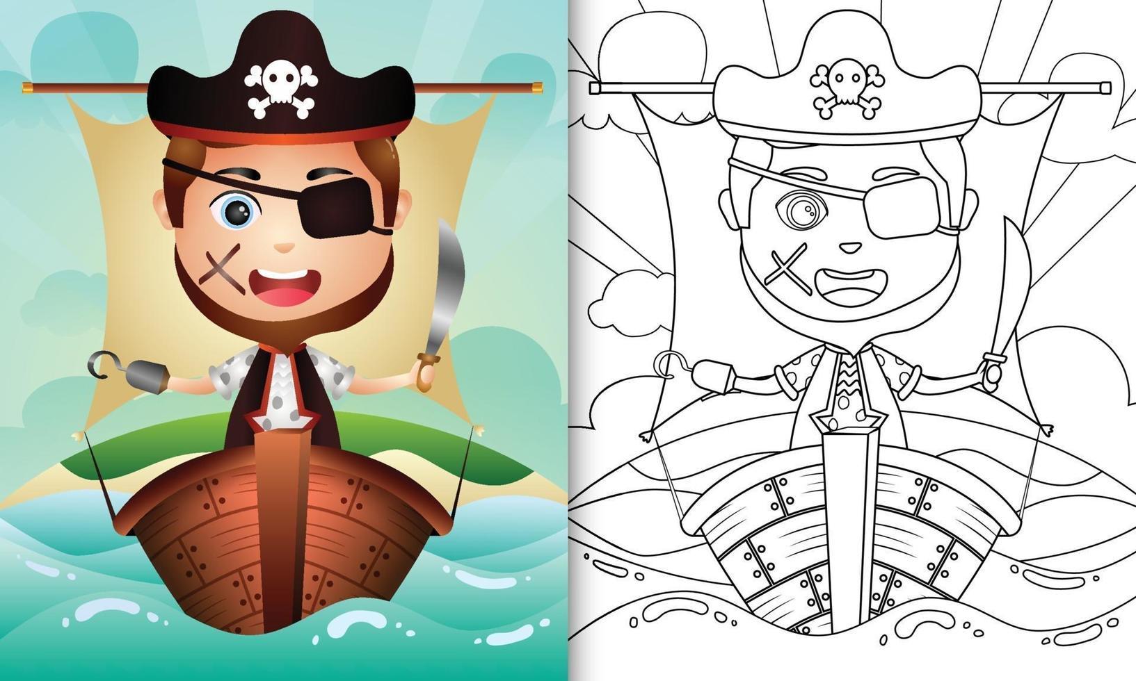 kleurboek voor kinderen met een schattige piratenjongen karakter illustratie vector