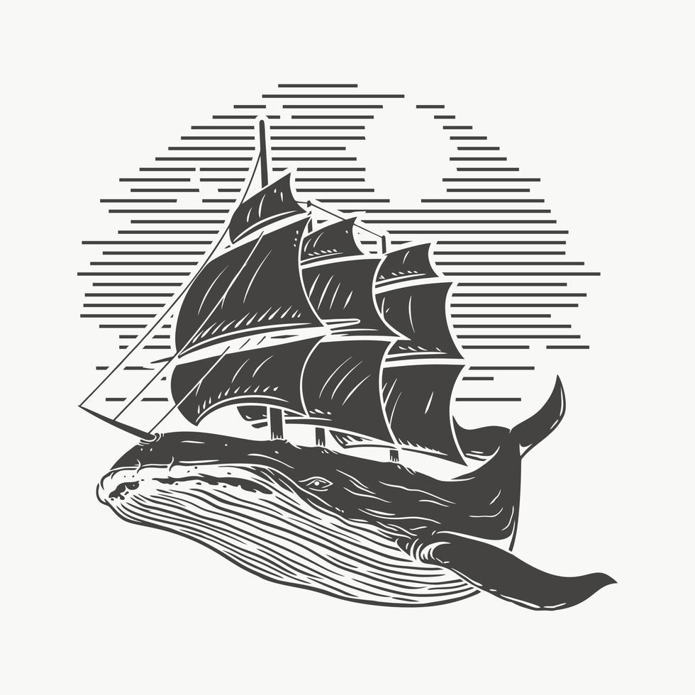 illustratie walvis en schip, sketch.premium vector