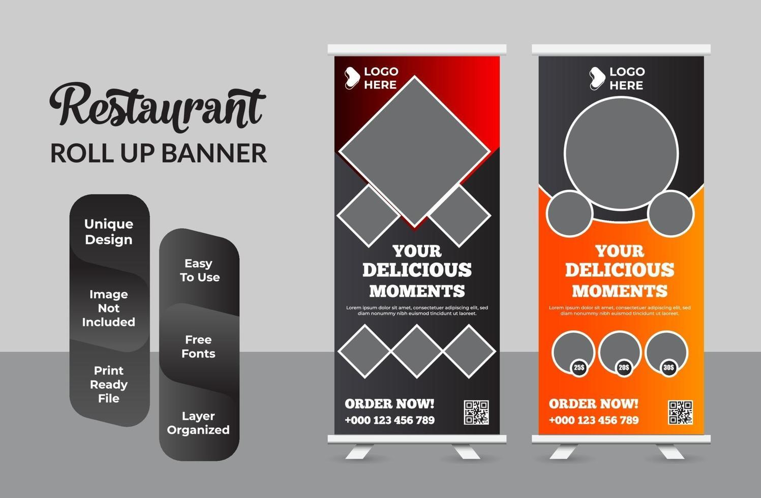 eten en restaurant roll-up banner ontwerpsjabloon set vector