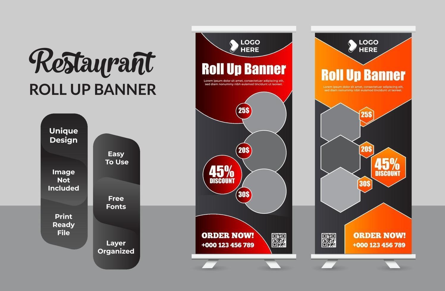 moderne voedsel roll-up banner ontwerpsjabloon set vector