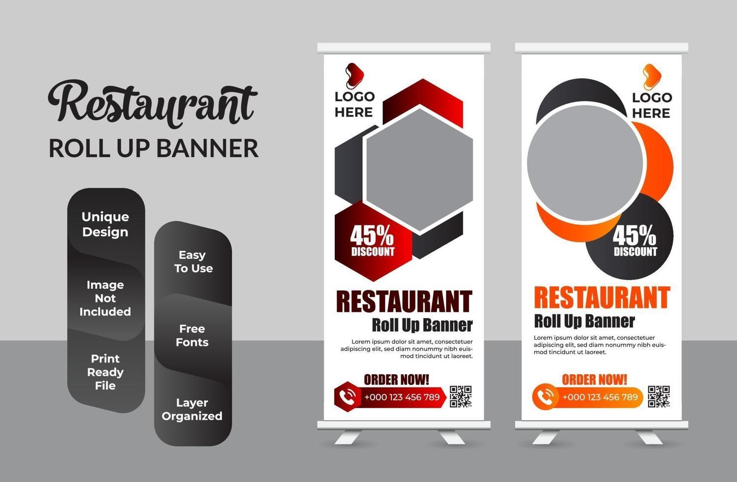 oprollen banner ontwerp afdruksjabloon set vector