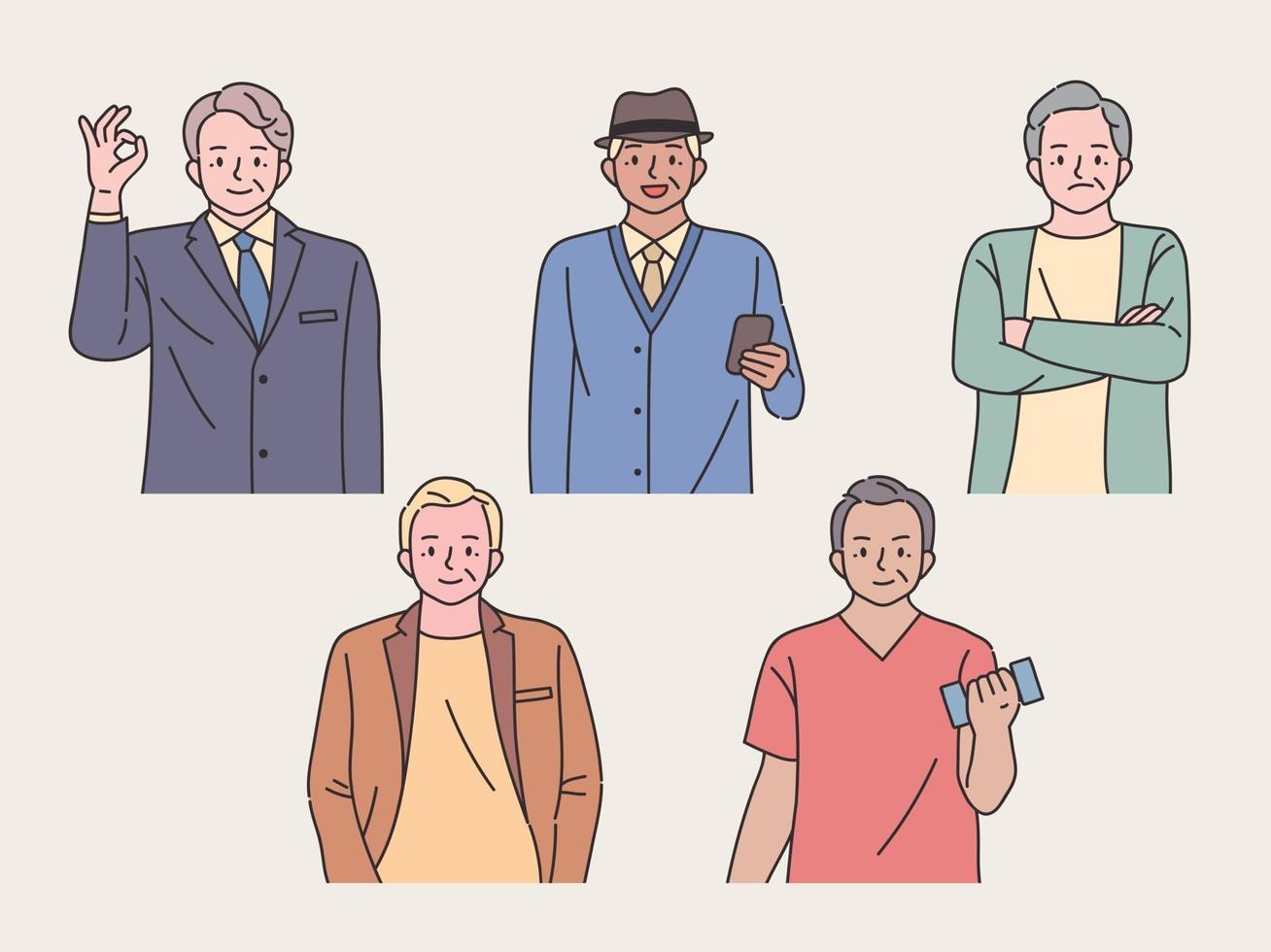 stijlvolle oude man set. een verzameling oude mannen met zelfverzekerde uitdrukkingen in stijlvolle kleding. vector
