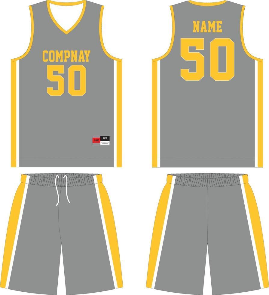 mock ups-sjablonen voor basketbaluniform op maat vector
