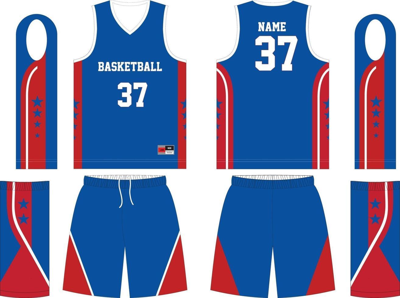 basketbal jersey set sjabloon collectie vector