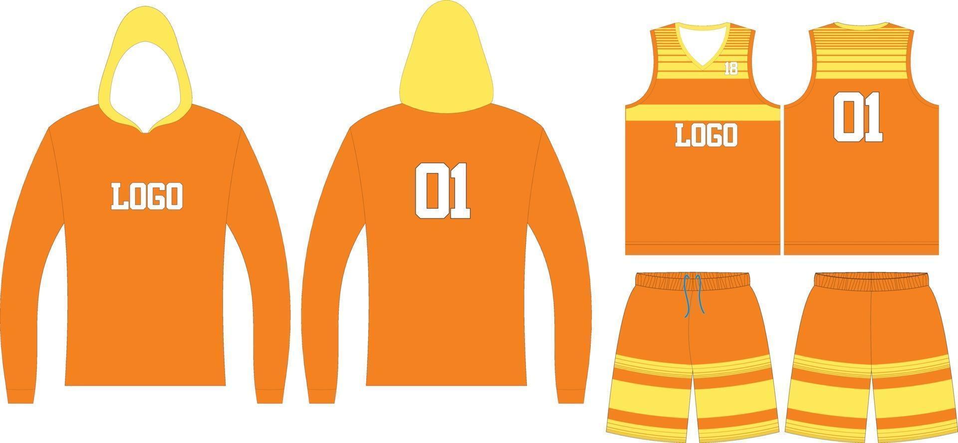 basketbal hoodie, t-shirts en korte broeken vector