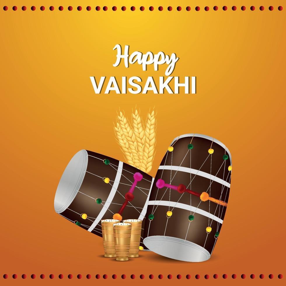 gelukkig vaisakhi-feest plat ontwerp met trommel vector