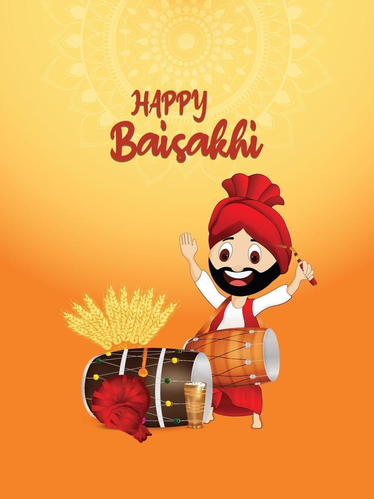 gelukkig vaisakhi indian festival wenskaart of posterontwerp vector
