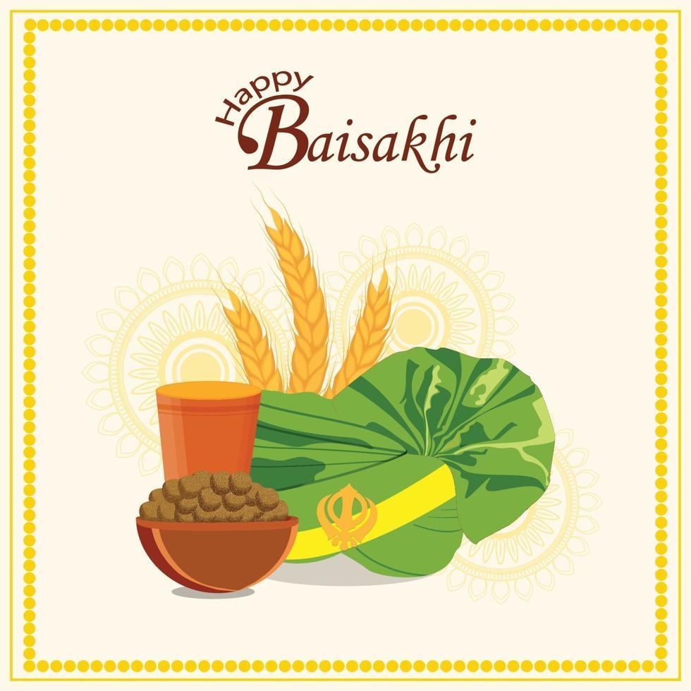 vaisakhi-wenskaart met creatieve illustratie vector