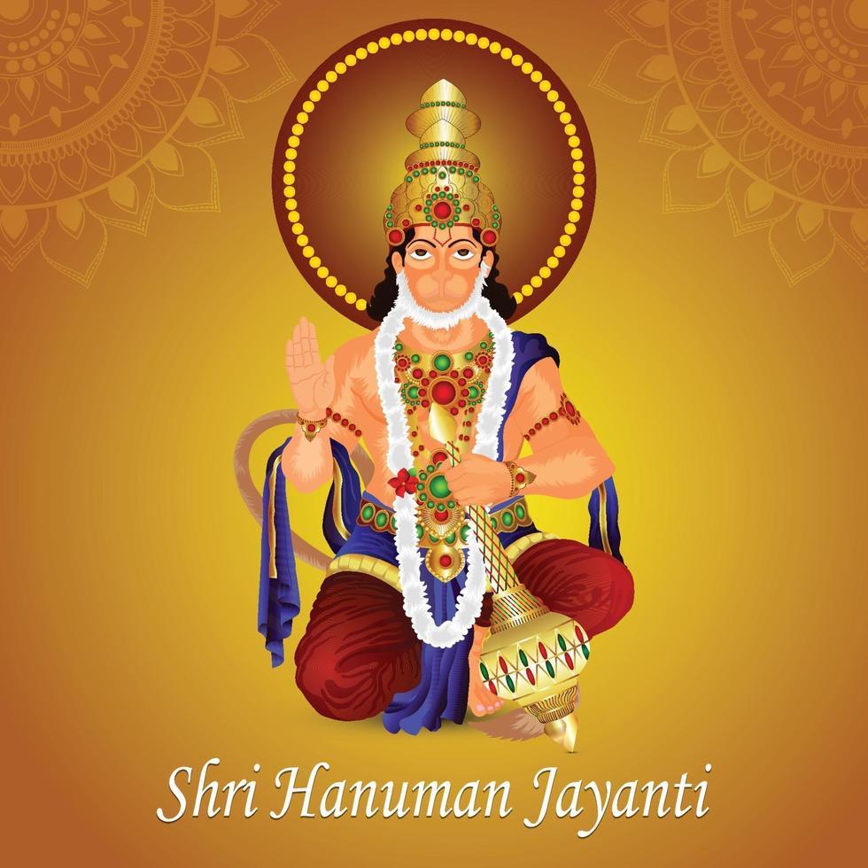 creatieve vectorillustratie van Lord Hanuman met achtergrond vector