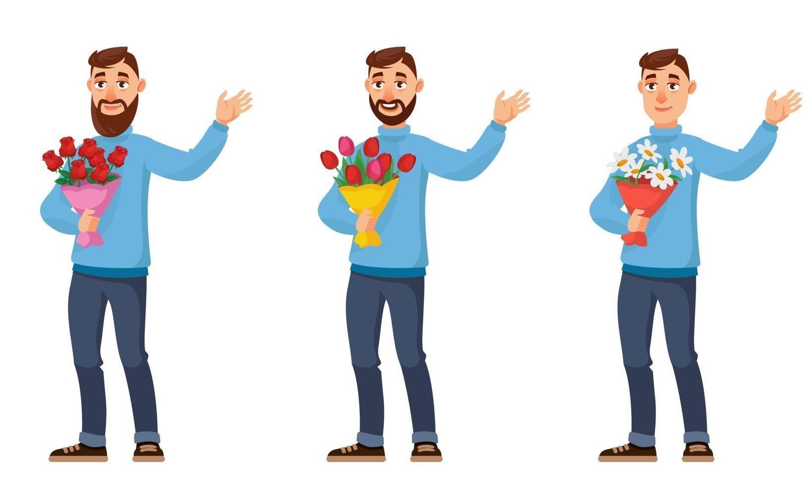 man met verschillende boeketten bloemen. vector