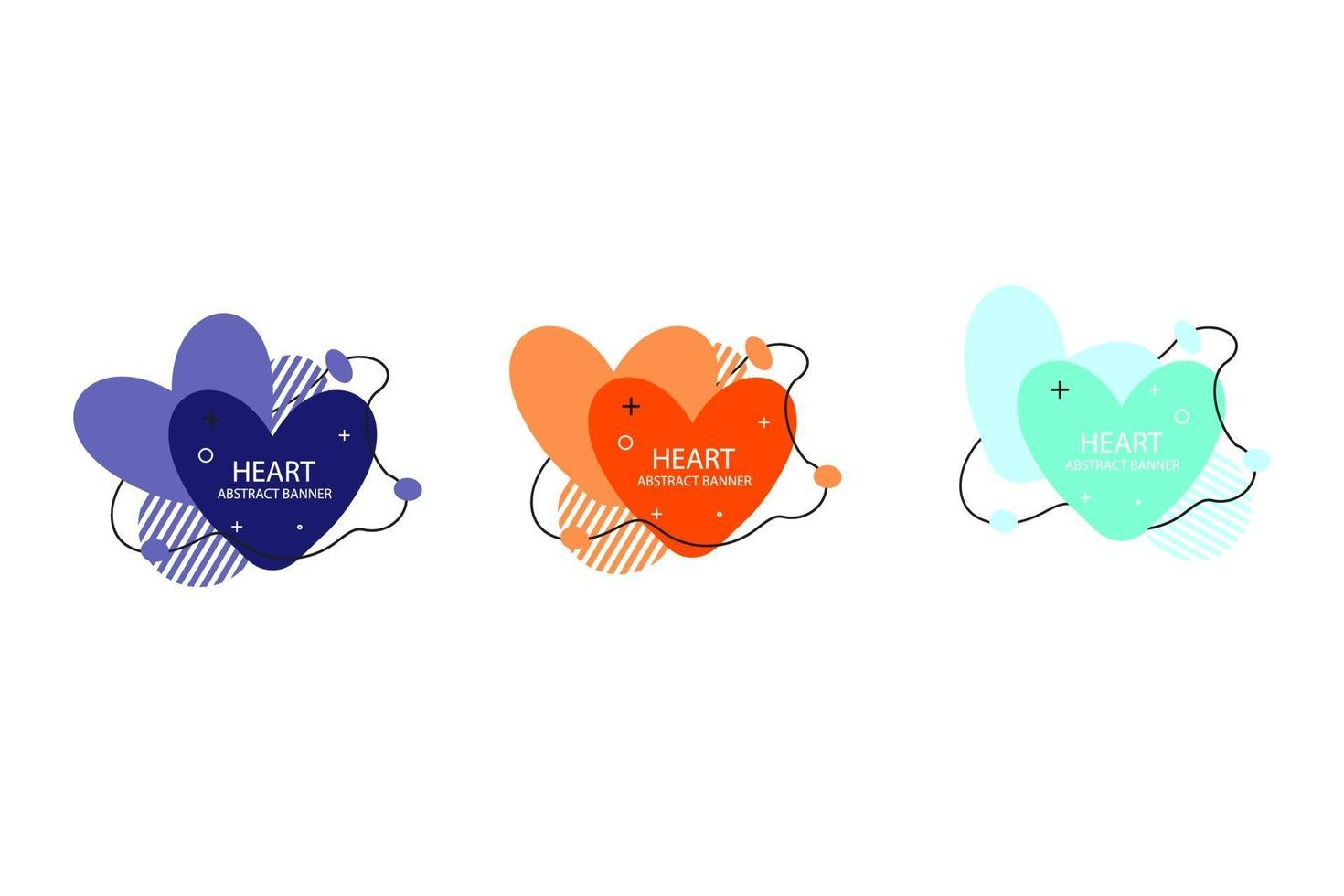 twee harten abstracte bannercollecties. organische of vloeiende vormen met verschillende zachte kleuren. bruikbaar voor web, sociale media, print, banner, achtergrond, achtergrondsjabloon. Valentijnsdag viering vector