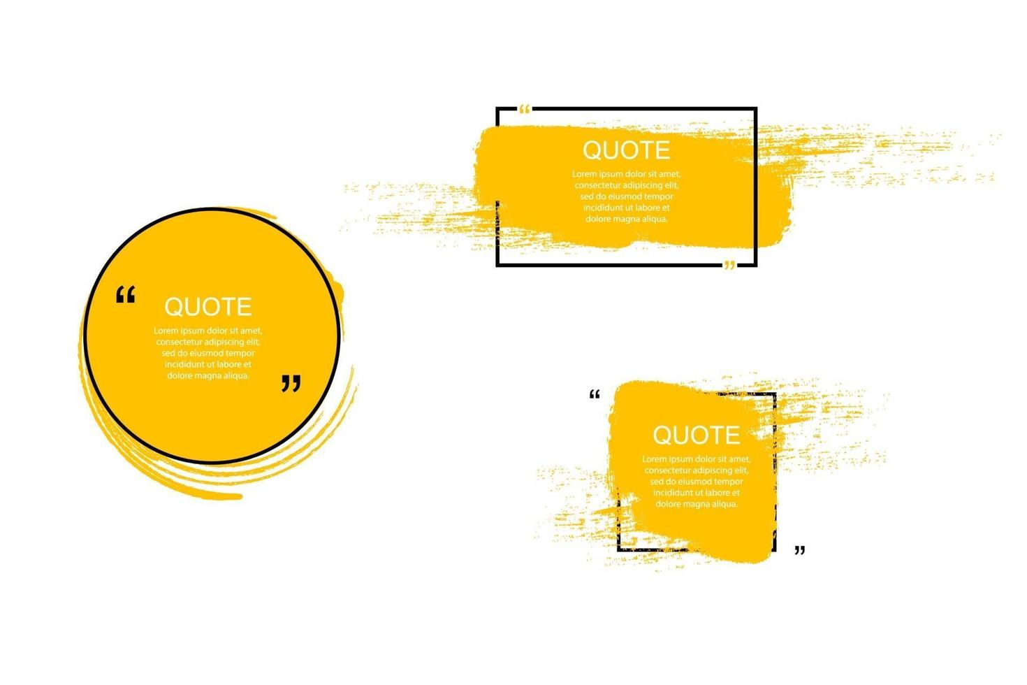 quote box frame, grote set. offerte vak pictogram. sms-offertevakken. lege grunge brush achtergrond. vector illustratie