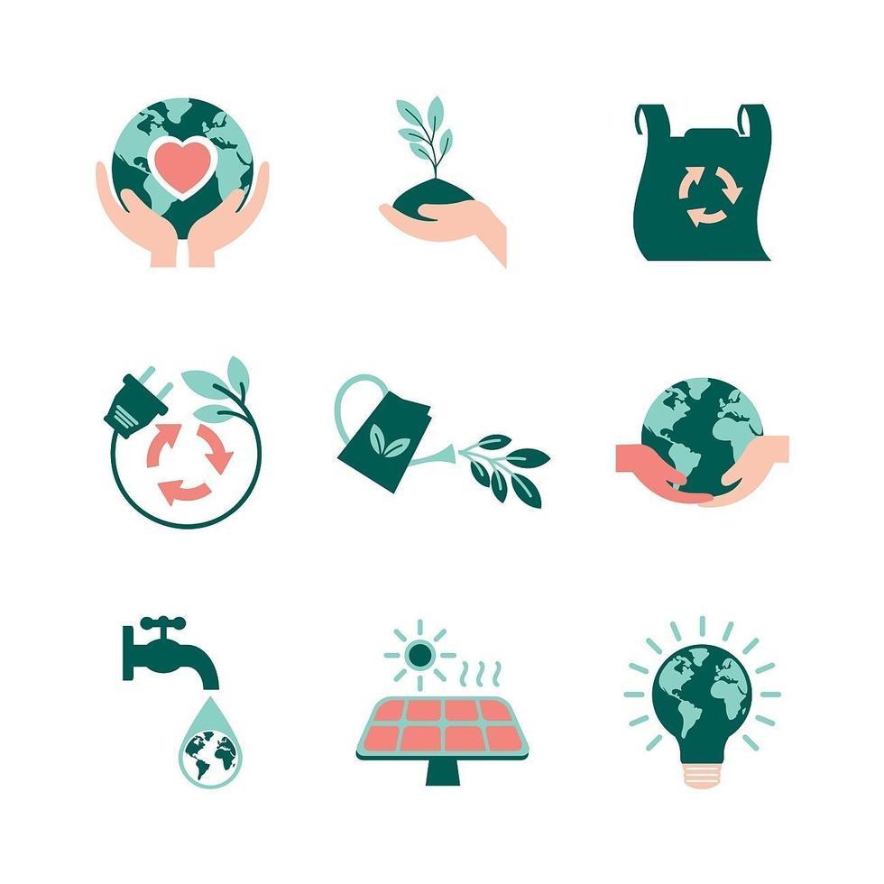aarde dag iconen collectie vector