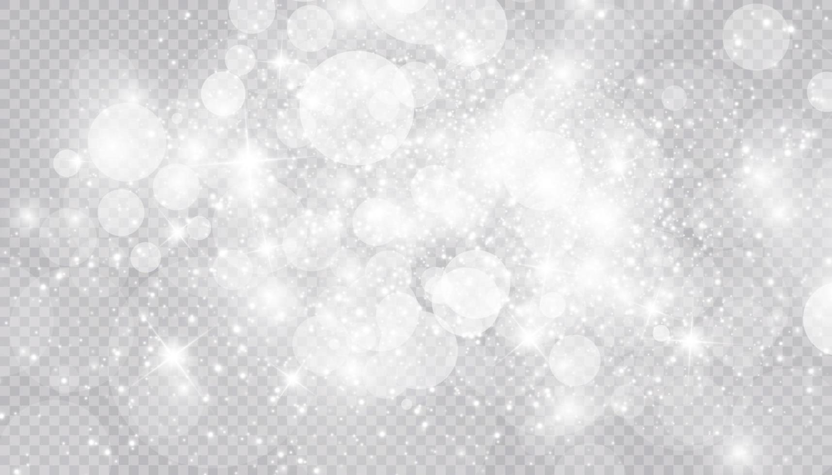 gloeiend lichteffect met veel glitterdeeltjes geïsoleerde achtergrond. vector sterrenwolk met stof. magische kerstversiering