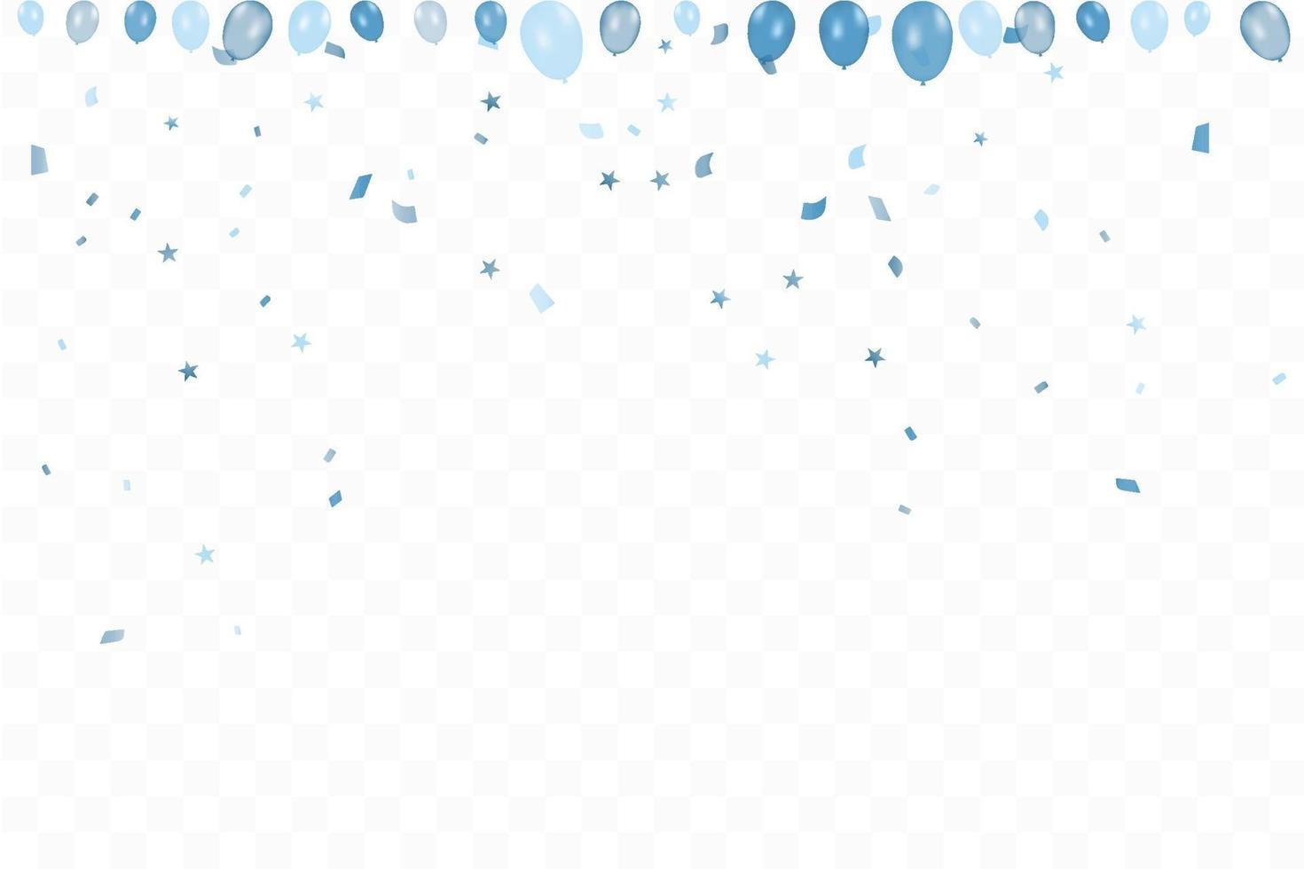 verjaardag van de jongen. gelukkige verjaardag achtergrond met blauwe ballonnen en confetti. viering evenement partij. veelkleurig. vector