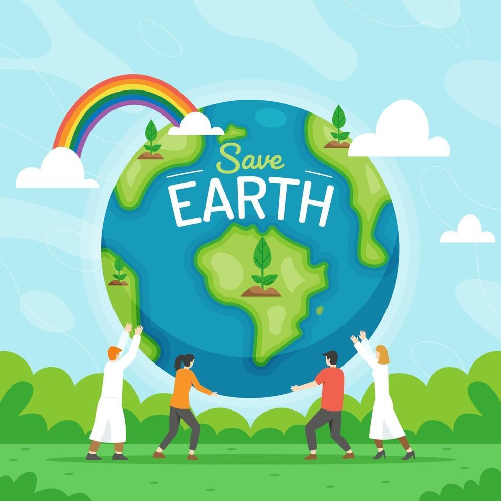 mensen werken samen om de aarde te redden vector
