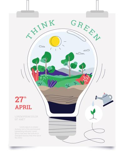 Denk groen Poster Vector platte lampideeën gaan groen