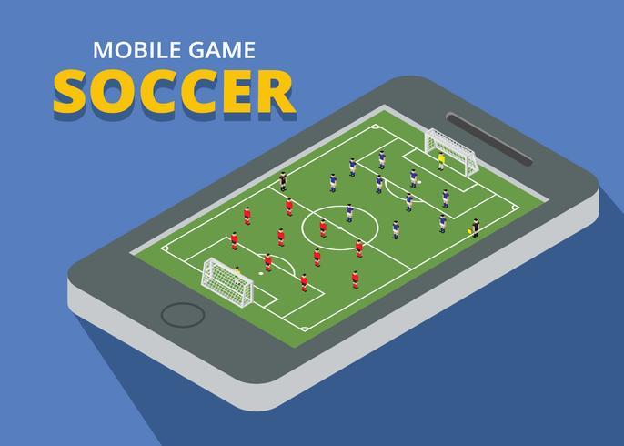 mobiel spel voetbal isometrisch vector