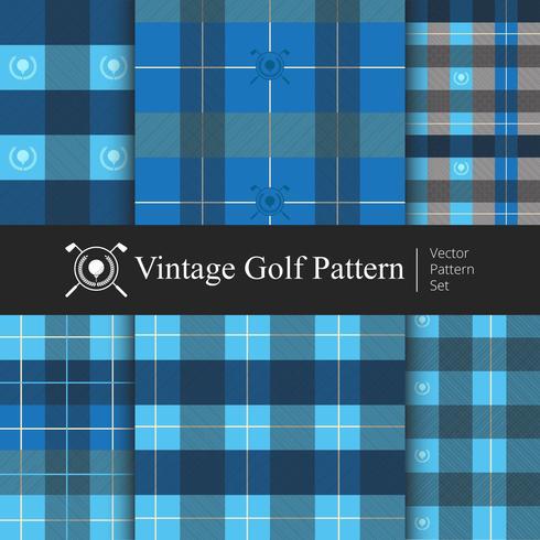 Vintage golfpatroon ingesteld, blauwe kleur vector