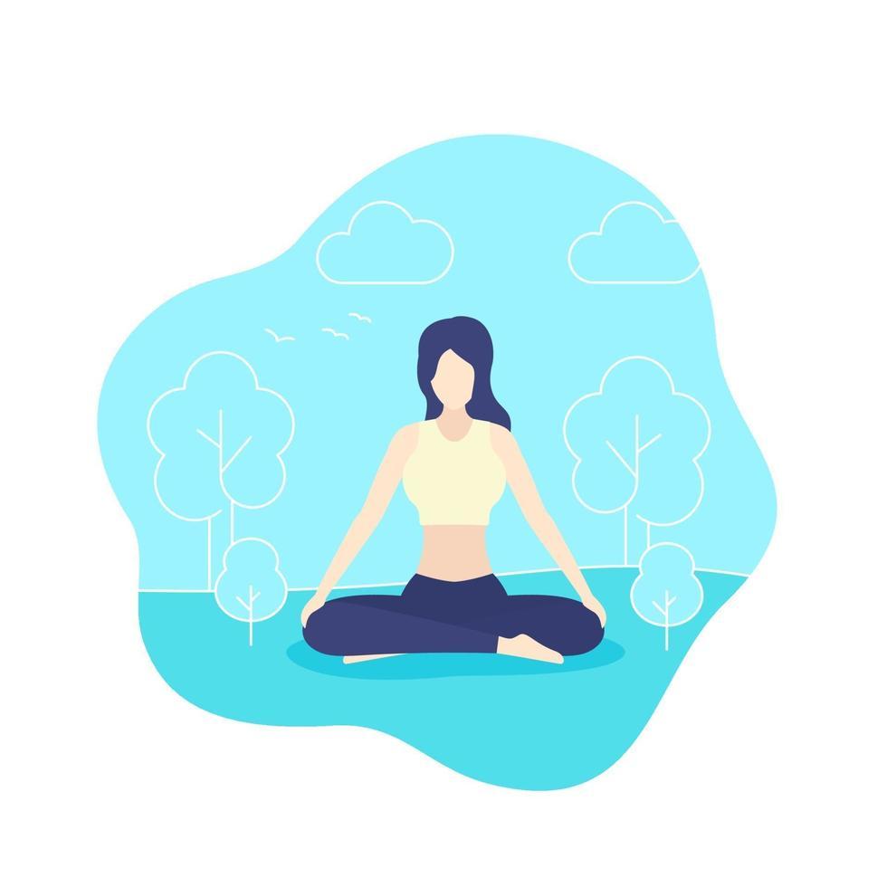 yoga, meisje mediteert in park, vector.eps vector