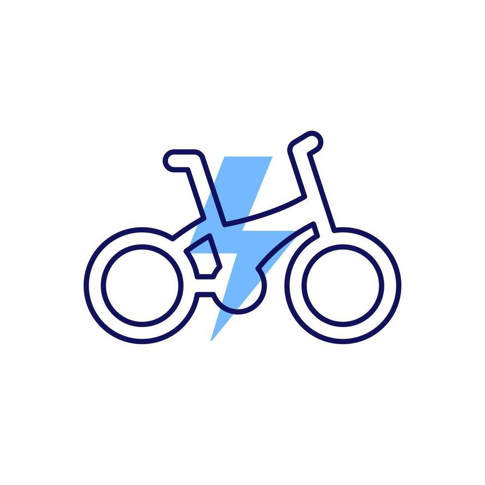 elektrische fiets, e-bike pictogram, lijn design.eps vector