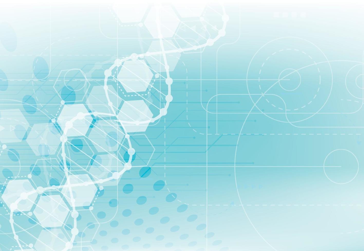 wetenschapssjabloon, behang of banner met een DNA-moleculen. vector