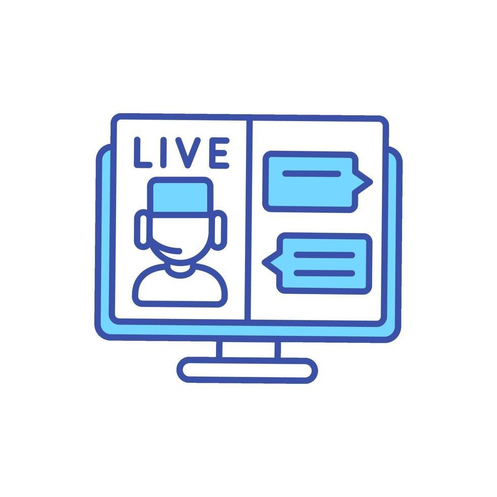 live online chat met arts rgb-kleurpictogram vector