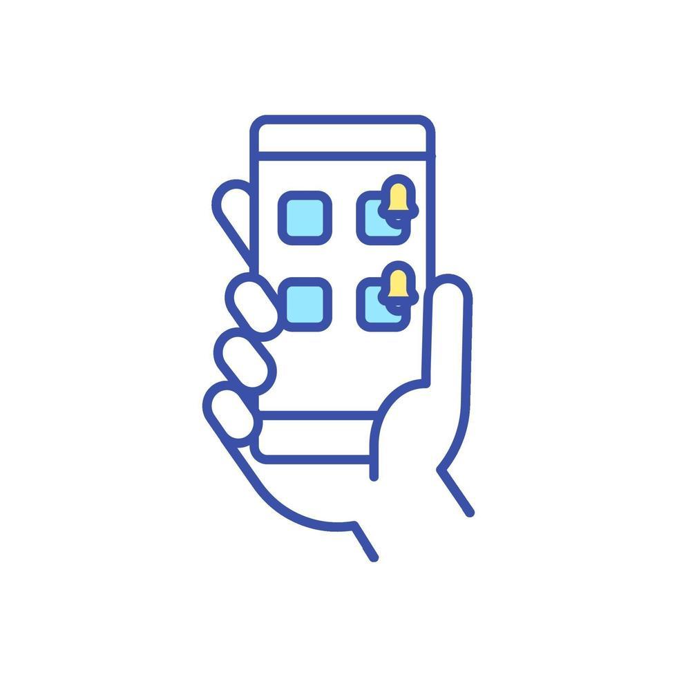 smartphone melding RGB-kleur pictogram vector