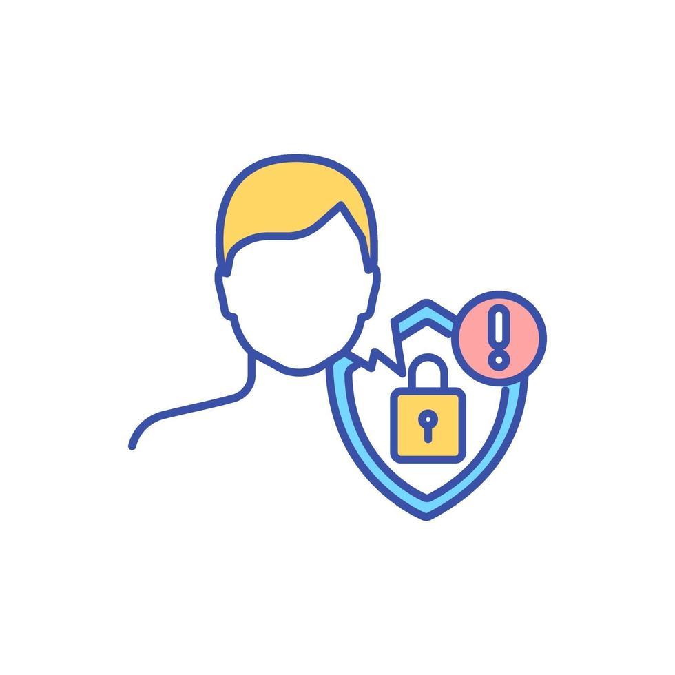 privacy zorg rgb kleur pictogram vector