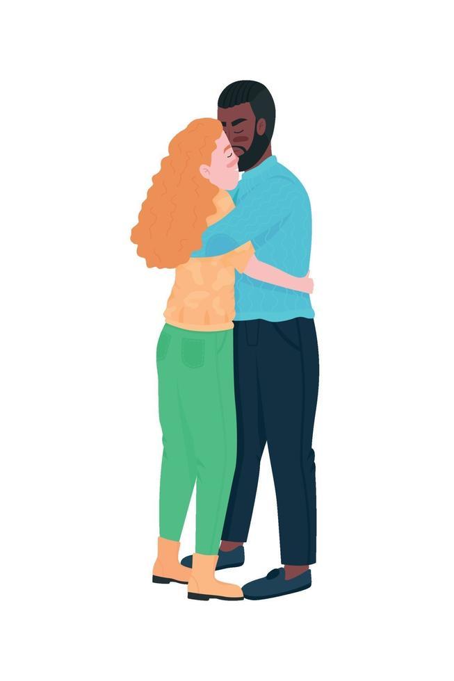 Sex tussen verschillendre rassen paar knuffelen egale kleur vector gedetailleerde karakters