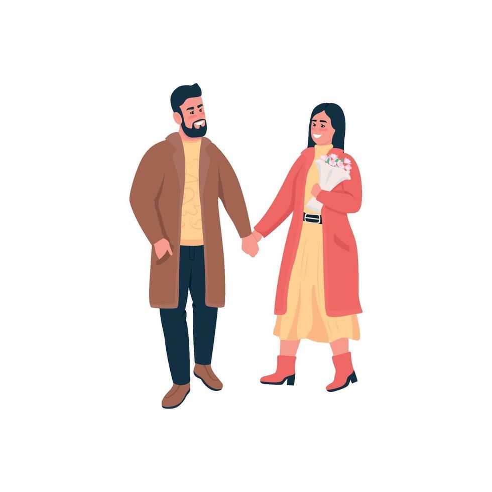 gelukkige paar hand in hand op winterwandeling egale kleur vector gedetailleerde karakters