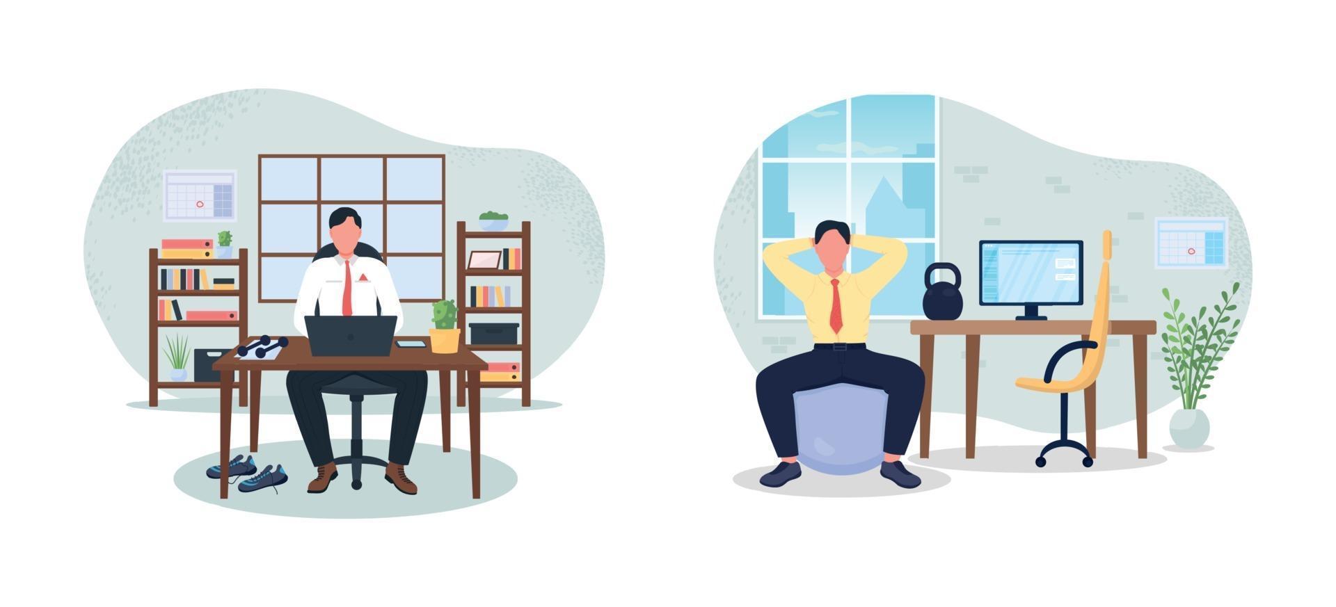 werkplek fitness 2d vector webbanner, poster set