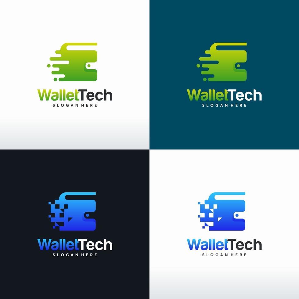 set portemonnee tech logo ontwerpen concept vector, digitale portemonnee logo sjabloon symbool vector