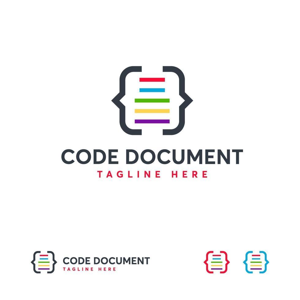 code document logo ontwerpen vector, codering logo ontwerpen vector