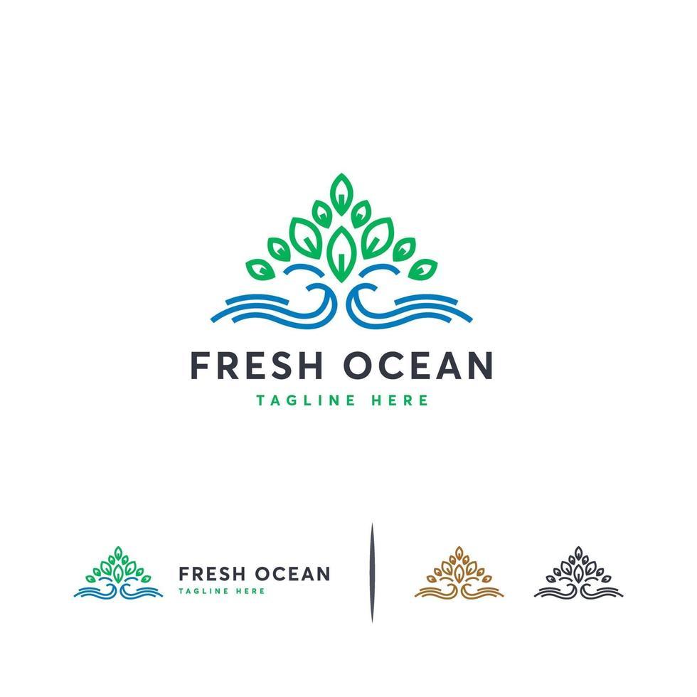 verse oceaan logo ontwerpen concept vector, blad en golf logo sjabloon vector
