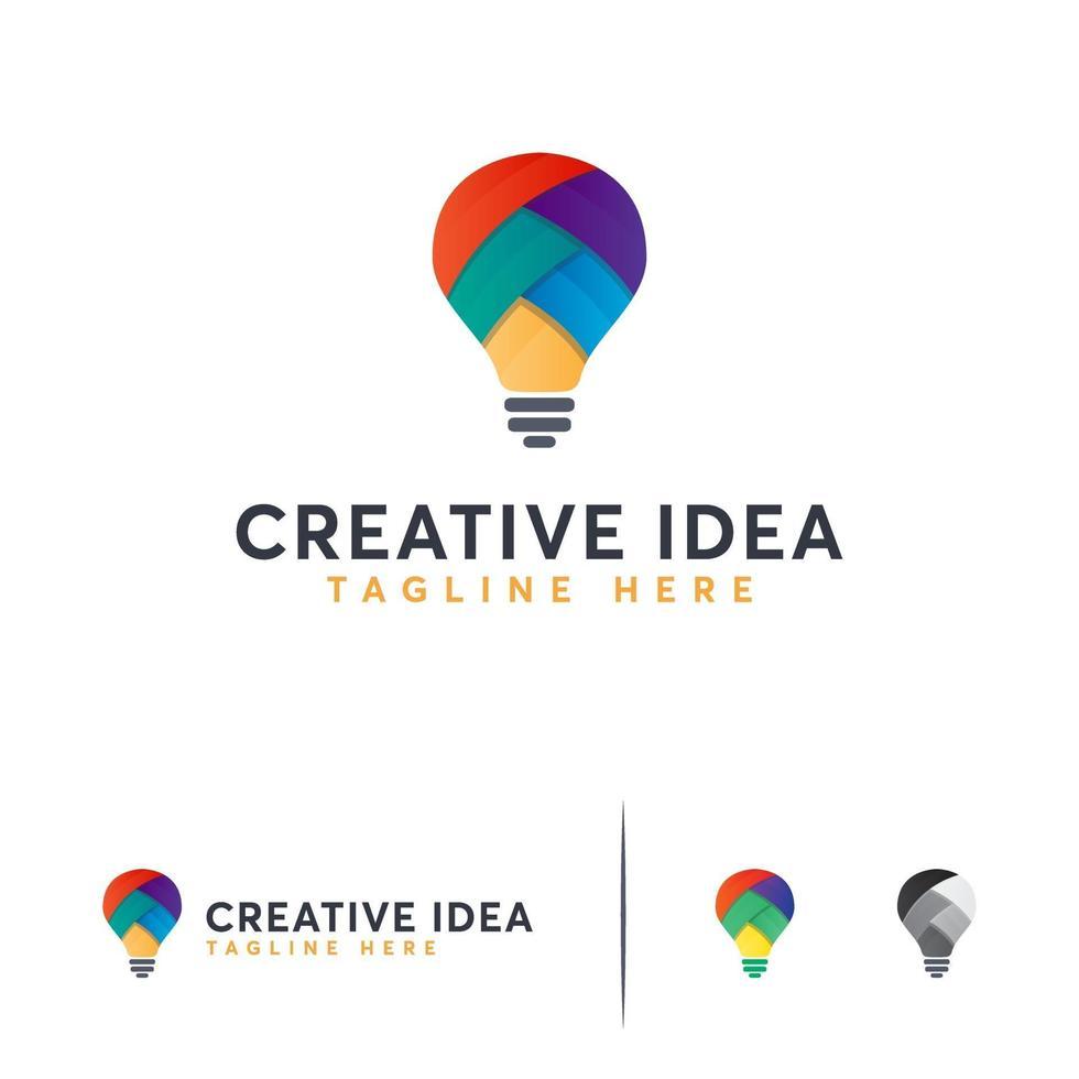 creatief onderwijs logo-ontwerpen, kleurrijke gloeilamp logo sjabloon vector