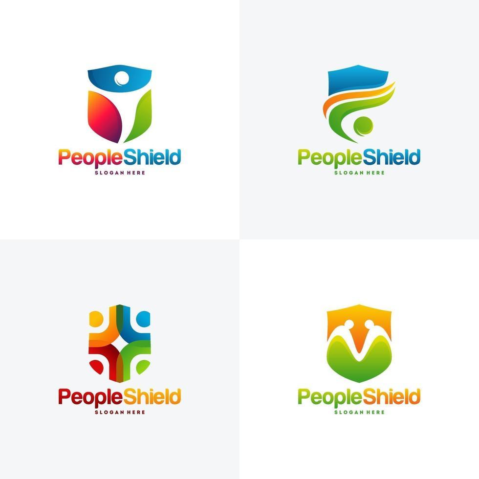 aantal mensen schild logo ontwerpen concept vector, moderne mensen geven logo sjabloon vector