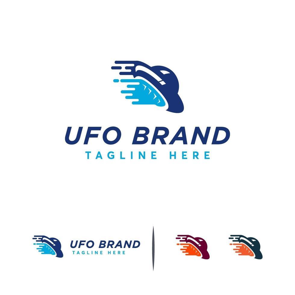 ufo logo ontwerpen concept vector, aliens vliegtuig logo sjabloon, ruimtevliegtuig symbool vector