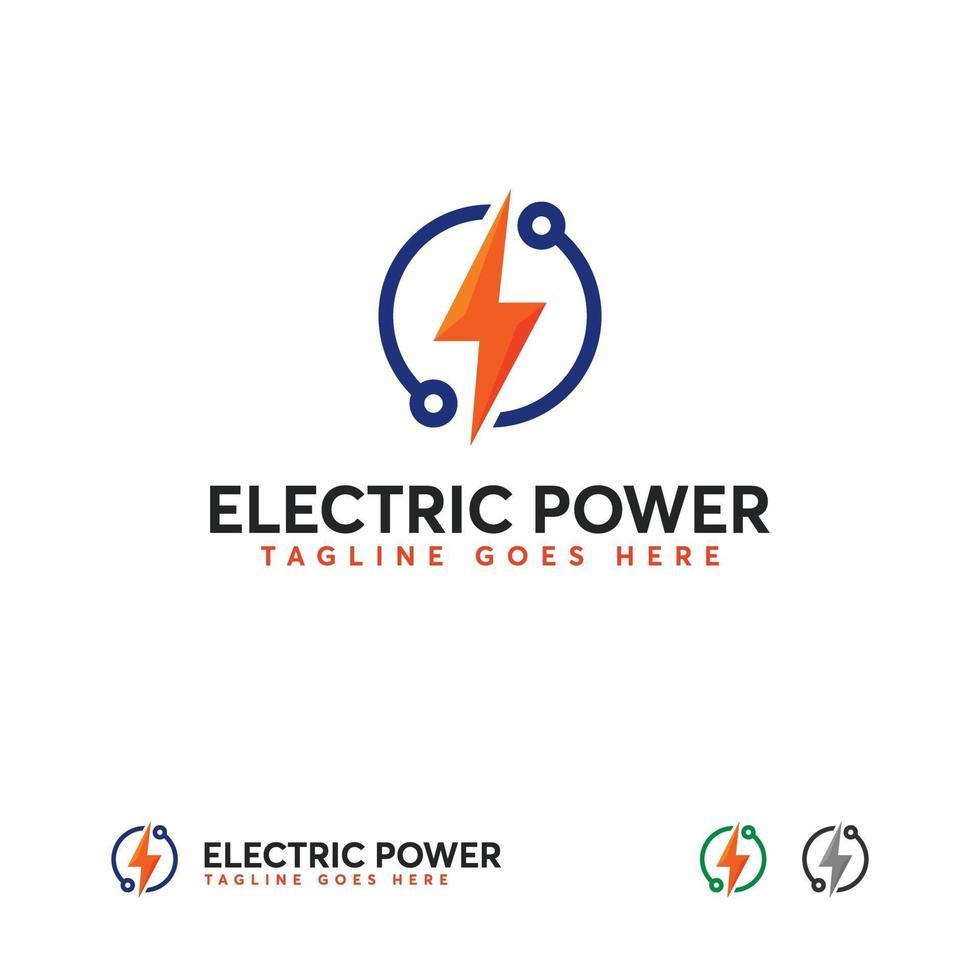 elektrisch vermogen logo-ontwerpen, elektriciteit tech logo sjabloon vector
