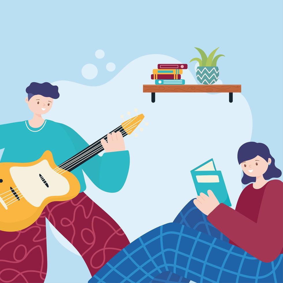 mensen activiteiten, man gitaarspelen en meisje een boek lezen op de bank vector