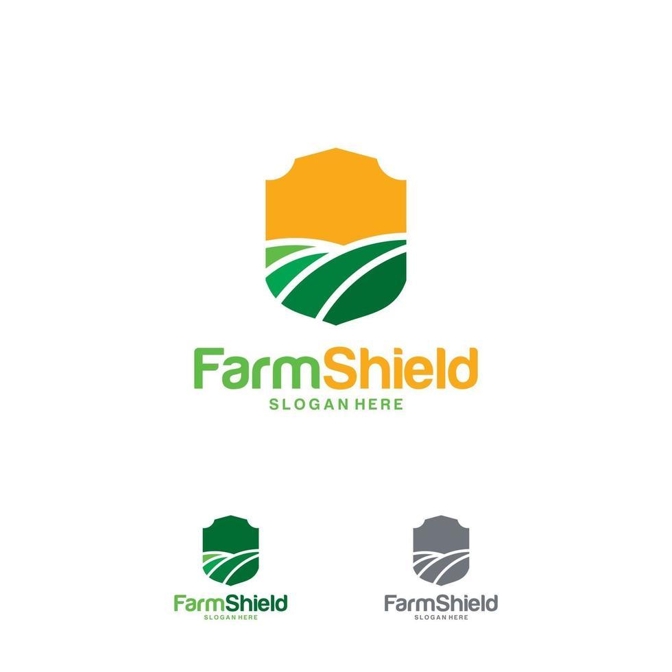 boerderij schild logo ontwerpen concept vector, natuur schild logo sjabloon symbool, ecologie beschermen logo vector