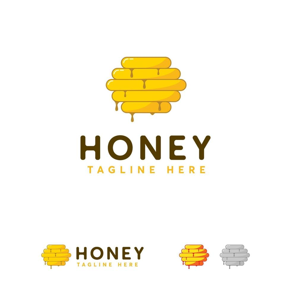 honing logo ontwerpen concept, zoete honingraat logo symbool vector