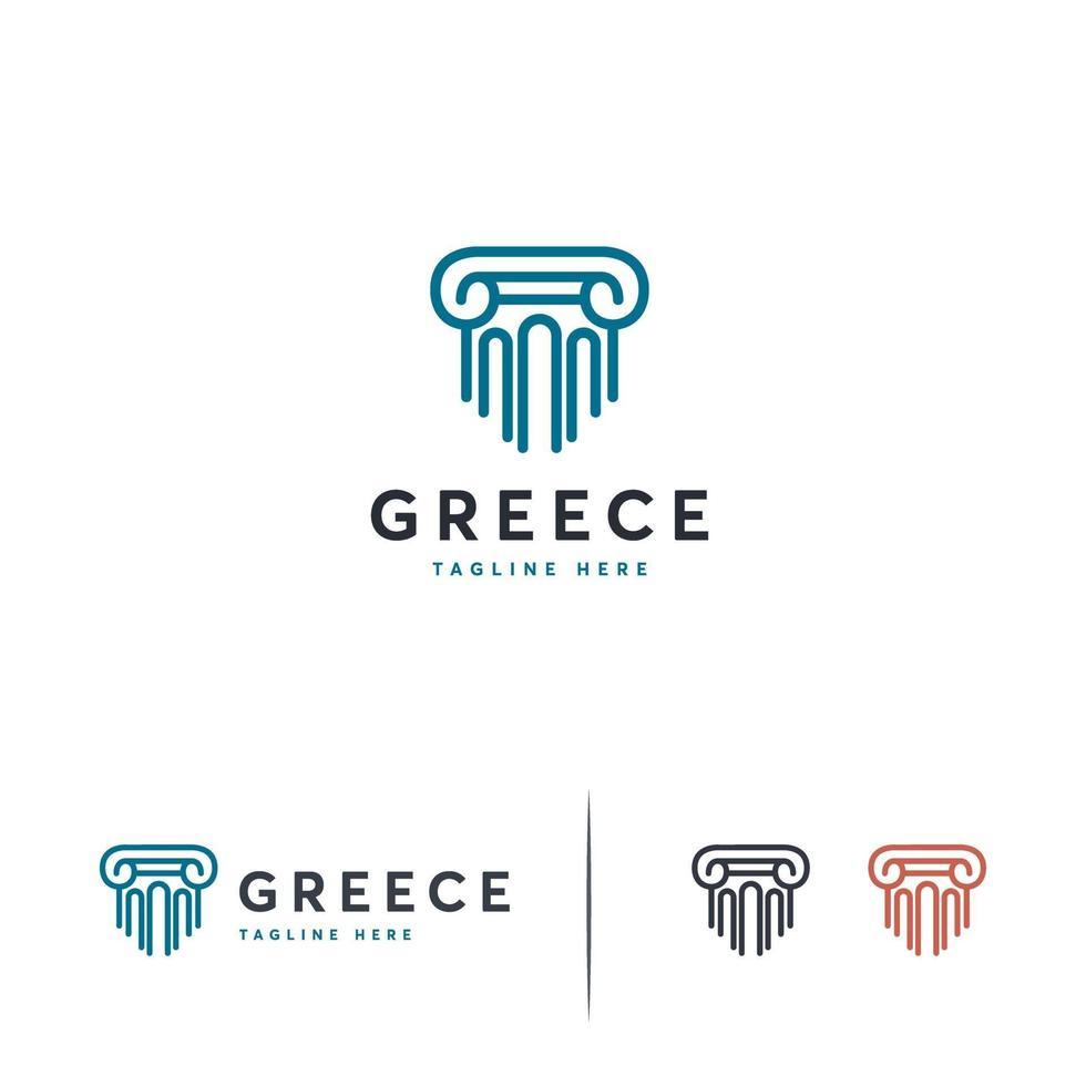 luxe pijler logo ontwerpen sjabloon, advocatenkantoor logo symbool vector