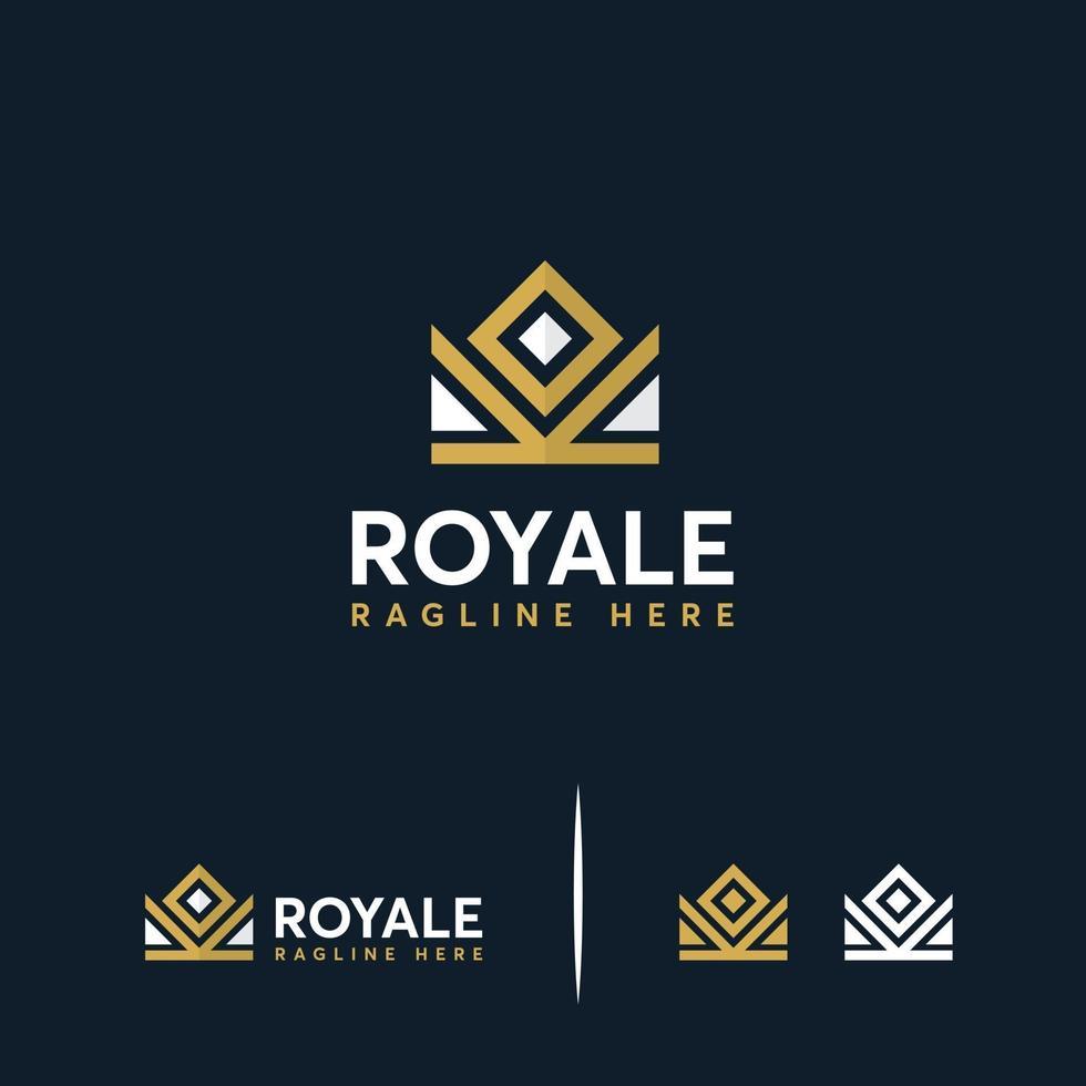 luxe kroon koning symbool concept, koninklijke kroon logo ontwerpen concept vector