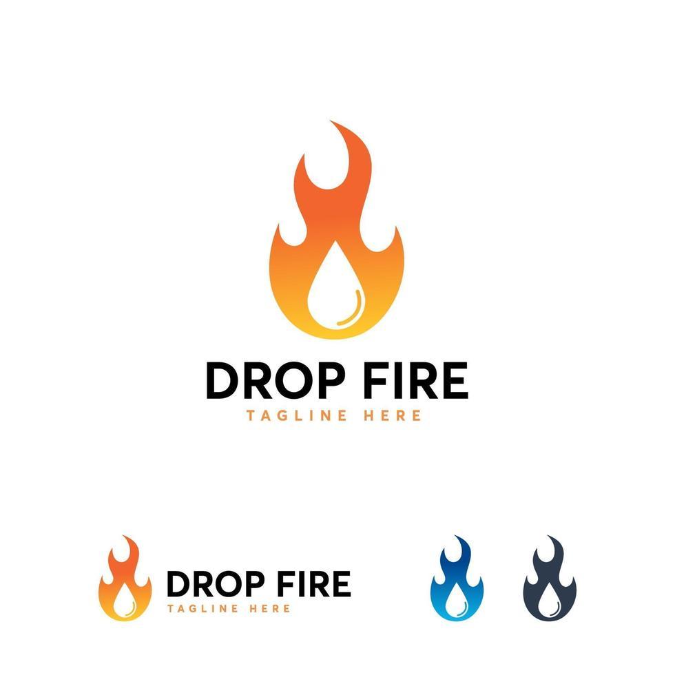 vuur logo ontwerpen sjabloon, vuur en water logo sjabloon. olie en gas logo symbool vector